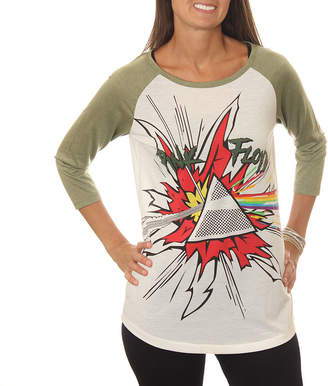 Asstd National Brand Pink Floyd Juniors' Light Prism Explosion Drapey 3/4 Sleeve Graphic Baseball T-Shirt