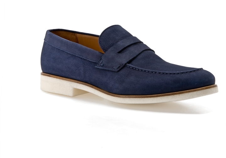 Mike Konos Suede Penny Loafer - Blue