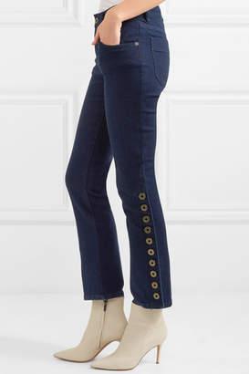 Chloé Button-detailed Mid-rise Flared Jeans - Dark denim