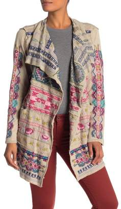 Johnny Was Gyrot Embroidered Shawl Collar Knit Jacket