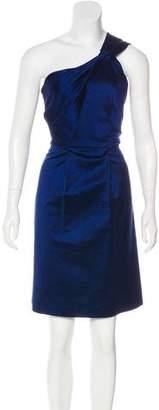 Lela Rose One Shoulder Silk Knee-Length Dress