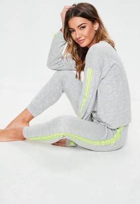 Missguided Gray Side Stripe Jogger Loungewear Set