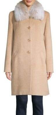 Sofia Cashmere Fox Fur Relaxed-Fit Car Walker Coat