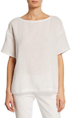 Eileen Fisher Plus Size Short-Sleeve Cotton Gauze Top