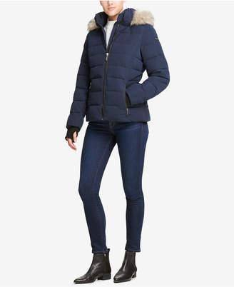 DKNY Faux Fur Hooded Puffer Jacket