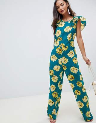 Asos DESIGN Jumpsuit with Flutter Open Back in Floral Bloom print