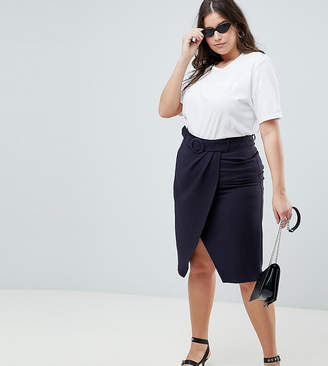 Asos Design Curve Wrap Front Midi Skirt With Self Belt