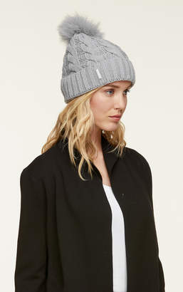 Soia & Kyo AMALIE-T knit hat with removable fur pom pom
