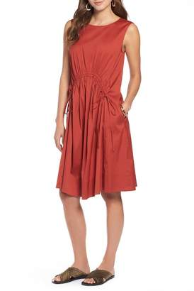 Halogen Drawcord Stretch Cotton Blend Dress (Regular & Petite)