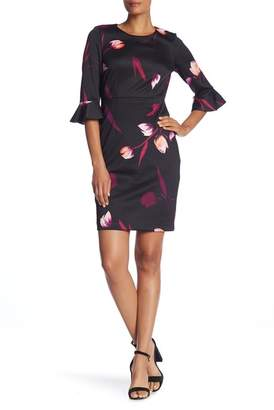 Nine West 3\u002F4 Ruffle Sleeve Print Sheath Dress