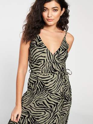 fa5cc1791dae AX Paris Zebra Printed Frill Dress - Khaki