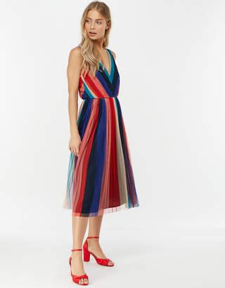 Monsoon Simone Stripe Pleated Mesh Dress