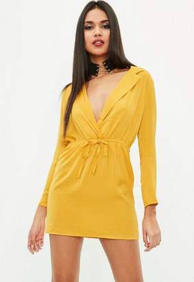 Missguided Petite Yellow Hammered Satin Tie Waist Dress