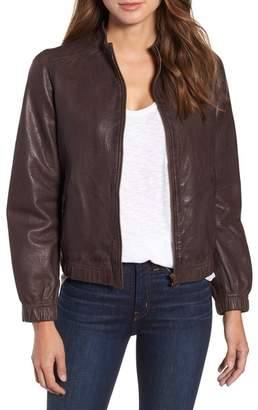 Caslon Washed Leather Bomber Jacket (Regular & Petite)