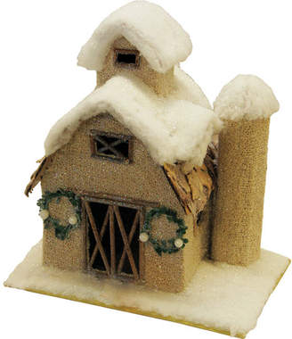 Northlight Snow Covered Barn with Wreaths Christmas Tabletop Decoration