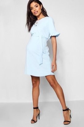 boohoo Maternity Ruffle Tie Waist Smock Dress