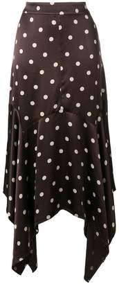 Ganni dot print asymmetric skirt