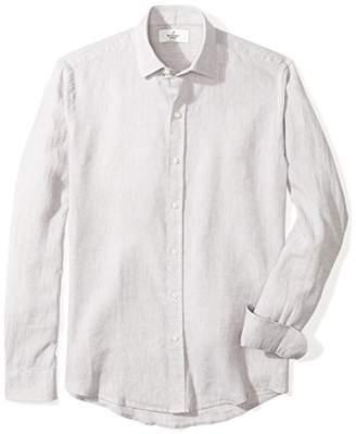 Buttoned Down Men's Slim Fit Spread-Collar Casual Linen Cotton Shirt
