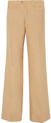 Chloé Wool And Silk-blend Wide-leg Pants - Sand