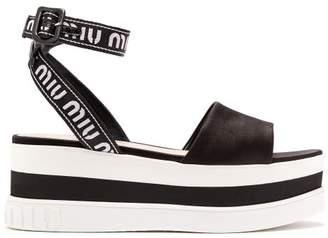 Miu Miu Logo Jacquard Satin Flatform Sandals - Womens - Black White