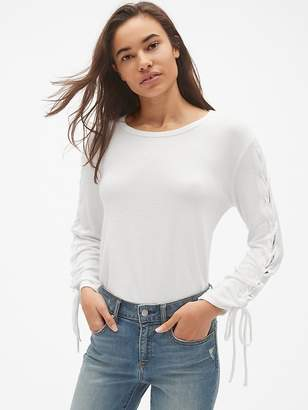 Gap Softspun Lace-Up Long Sleeve Top