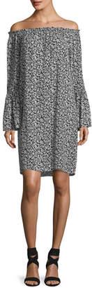 Michael Kors Off-the-Shoulder Mini Floral-Print Shift Dress