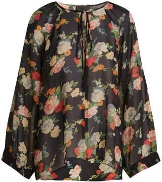 Nili Lotan Acadia Floral Print Silk Blouse - Womens - Black Multi