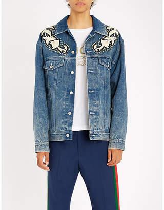 Gucci Leather-appliqué denim jacket