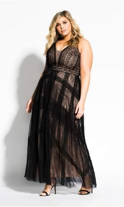 City Chic Citychic Divine Whimsy Maxi Dress - black