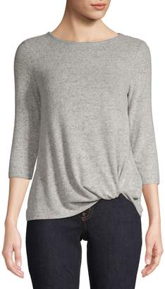 Lord & Taylor Petite Twist-Front Quarter-Sleeve Top