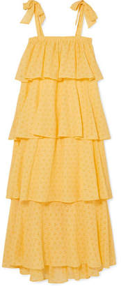 MDS Stripes - Garden Tiered Cotton Broderie Anglaise Dress - Yellow