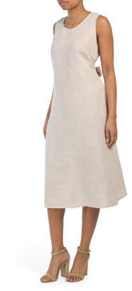 Made In Italy Linen Tie Back Midi Dress