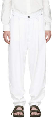 Hed Mayner White Tapered Jeans
