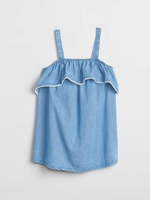 Gap Chambray Ruffle Tank Top