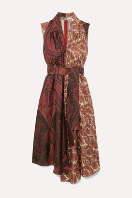 ADAM by Adam Lippes Belted Draped Printed Silk-twill Midi Dress - Brick