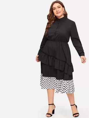 Shein Plus Polka Dot Panel Hem Flounce Trim Dress