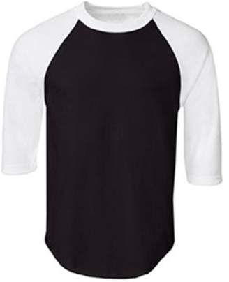 Stylish&Young Men's Casual Plain Raglan 3/4 Sleeve Baseball Jersey Cotton T Shirt Tee (M, Black+White)