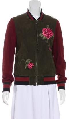 Vakko Embroidered Suede Jacket