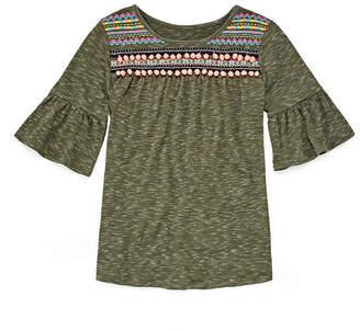 Arizona Ruffle Sleeve Embroidered Pom Pom Top - Girls' 4-16 & Plus