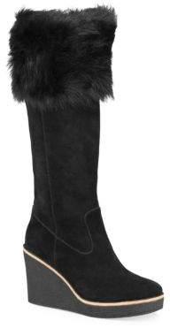 UGG Valberg Sheepskin & Suede Wedge Boots
