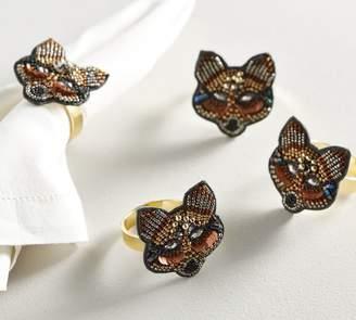 Pottery Barn Jeweled Fox Napkin Ring, Set of 4
