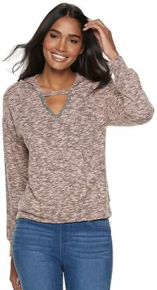 Juicy Couture Women's Marled Cutout Hoodie