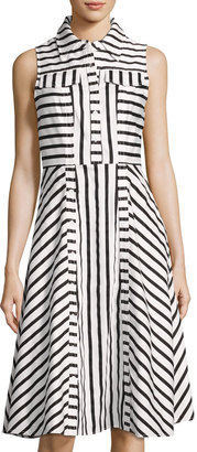 Julia Jordan Striped Fit-and-Flare Dress, Black/White $99 thestylecure.com