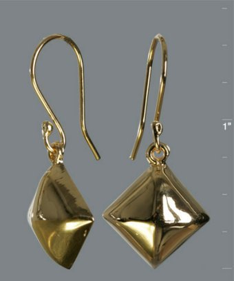 Argento Vivo gold pyramid stud drop earrings