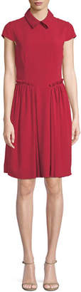 Emporio Armani Cap-Sleeve Collared A-Line Dress w/ Ruffled Trim