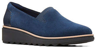 Clarks Sharon Dolly Suede Slip-On Wedge Shoes