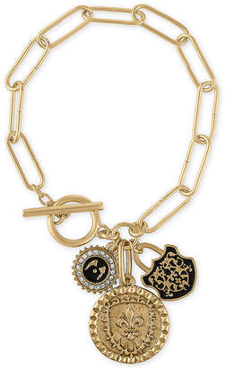 Rachel Roy Gold-Tone Multi-Charm Link Toggle Bracelet