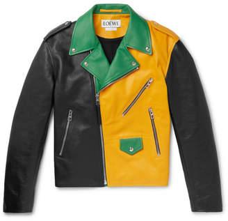 Loewe Oversized Colour-Block Leather Biker Jacket