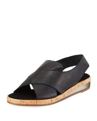 Sesto Meucci Sabita Cinzano Leather Demi-Wedge Flat Sandal