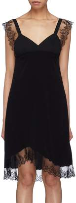 Neil Barrett Chantilly lace trim crepe dress